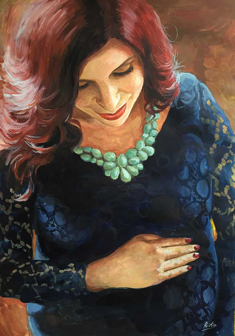 pregnant woman painted in pastel