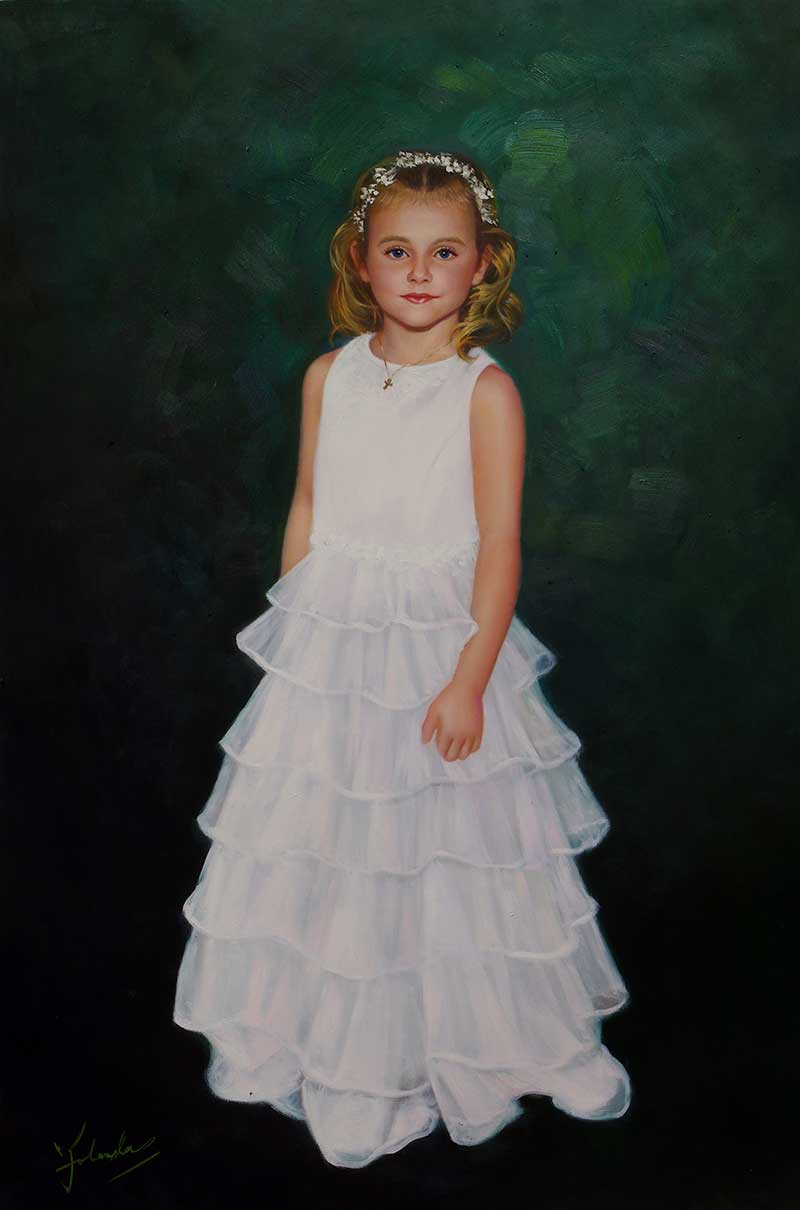 a custom oil painting of a child in white dress green