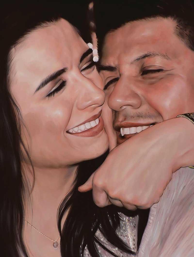oil portrait of a loving couple