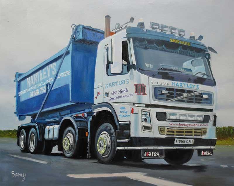 Custom oil handmade painting of a big truck
