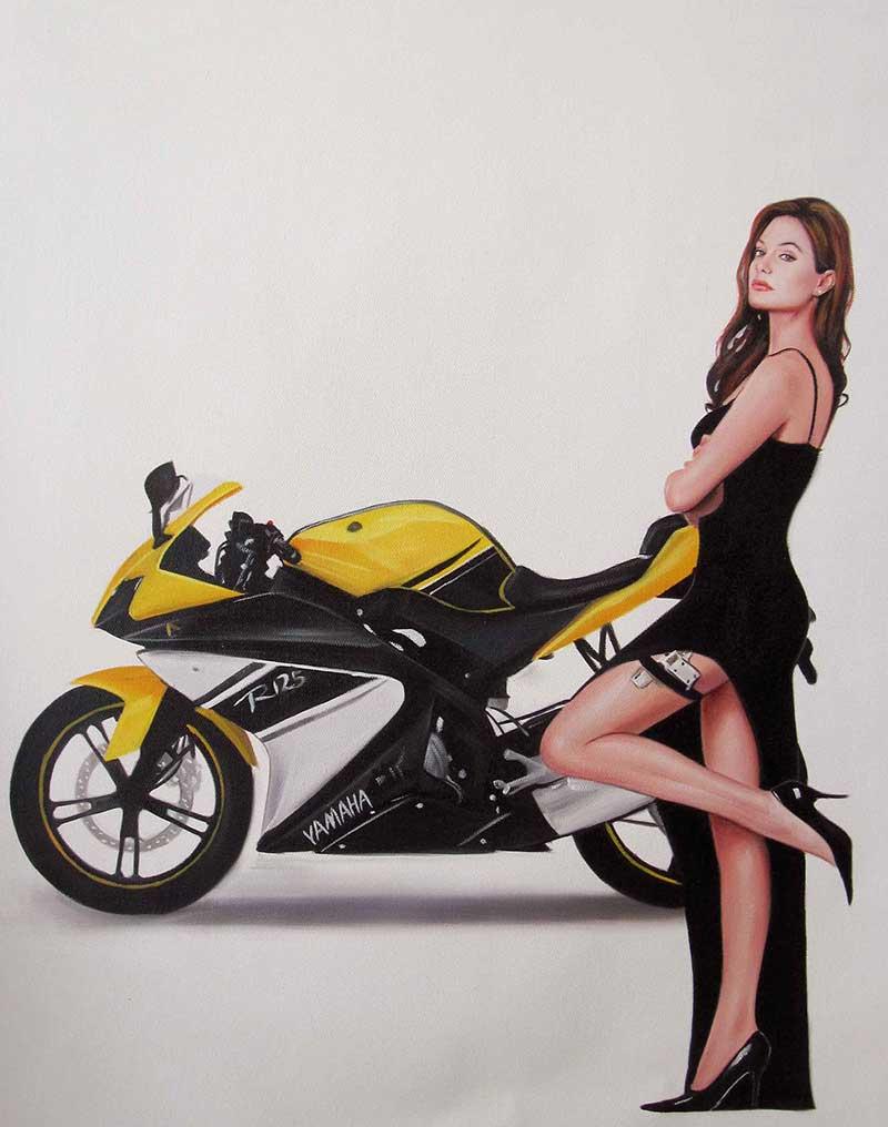 Peindre femme + moto