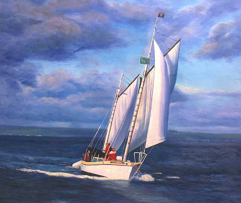 Custom oil handmade painting of an yacht with open sails
