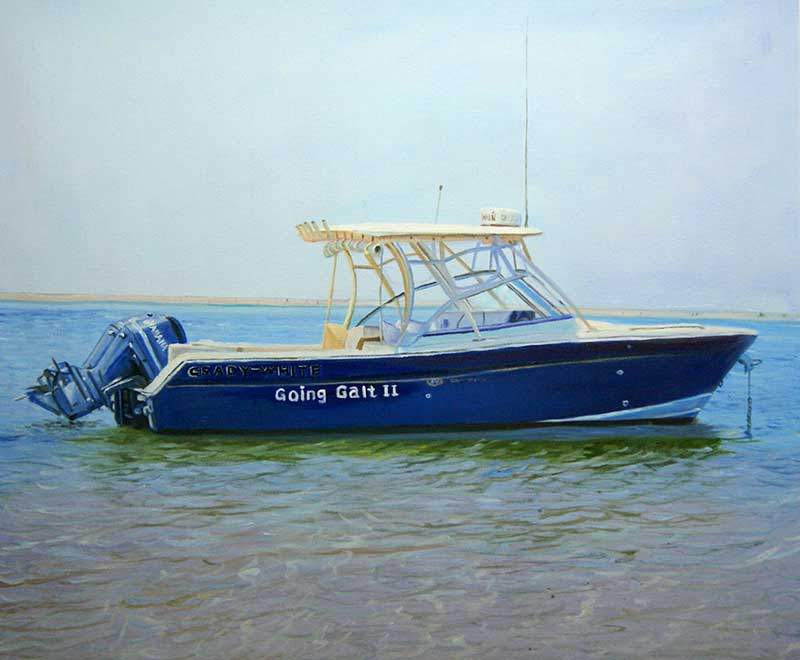Custom oil handmade painting  of a small boat
