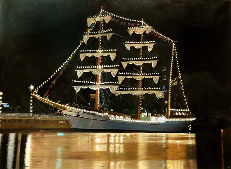 Custom oil handmade painting of a party yacht