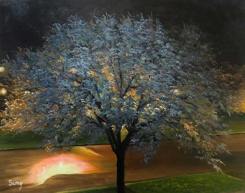 custom oil painting of a tree