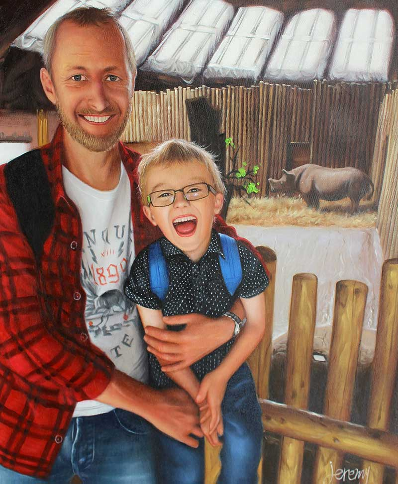 an oil painting of father and son in the zoo