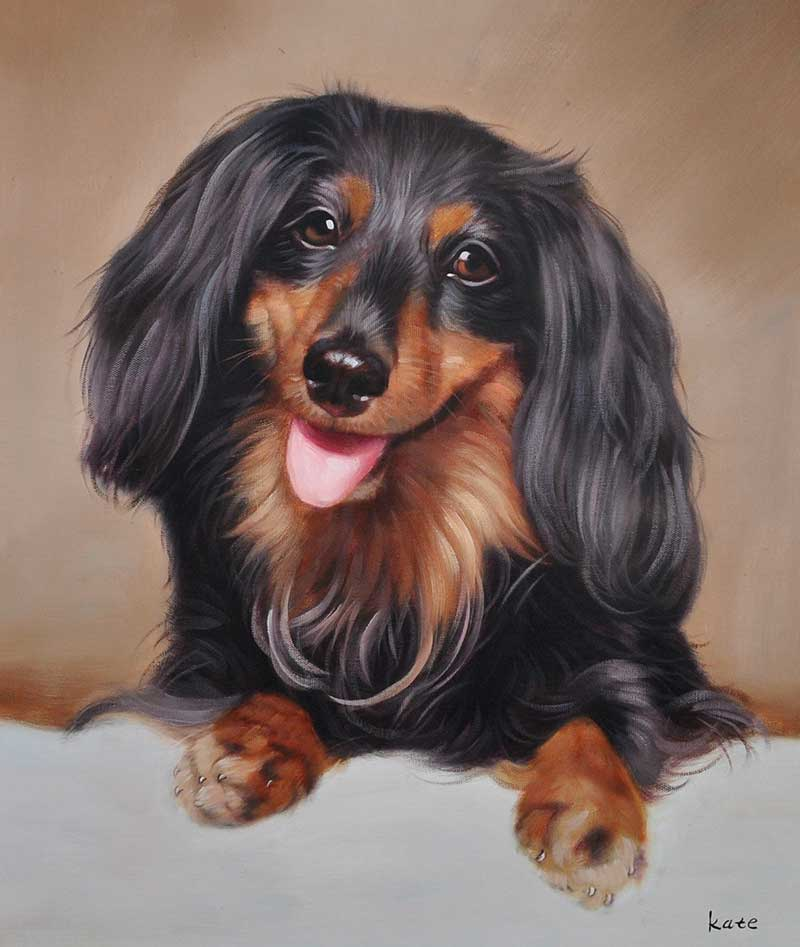 Cute playful black brown dog painting portrait