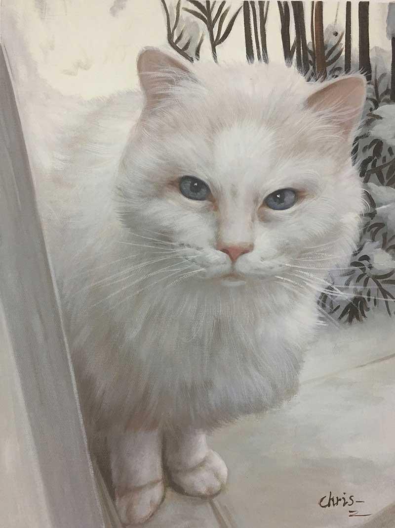 oil painting portrait white cat blue eyes