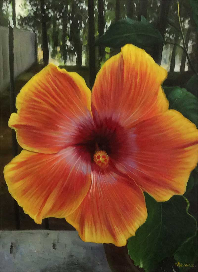 oil painting flower yellow red