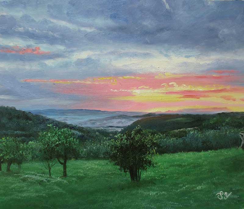 oil painting landscape sunset