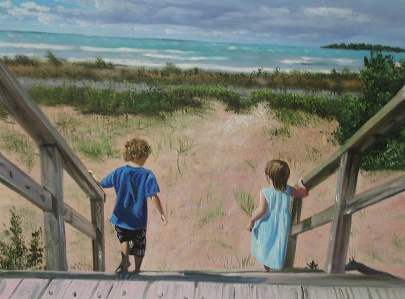oil painting children walking by the beach