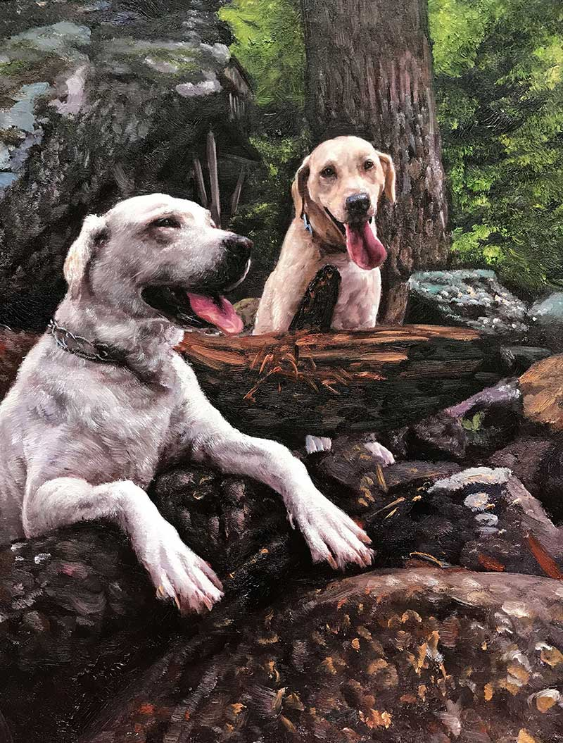 dog canvas painting of two labrador labs light brown