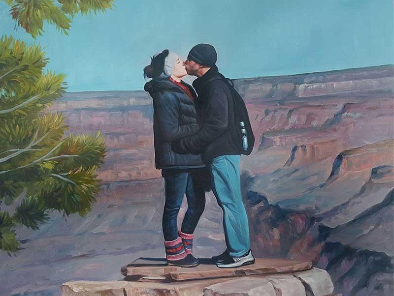 oil landscape painting romantic couple hiking