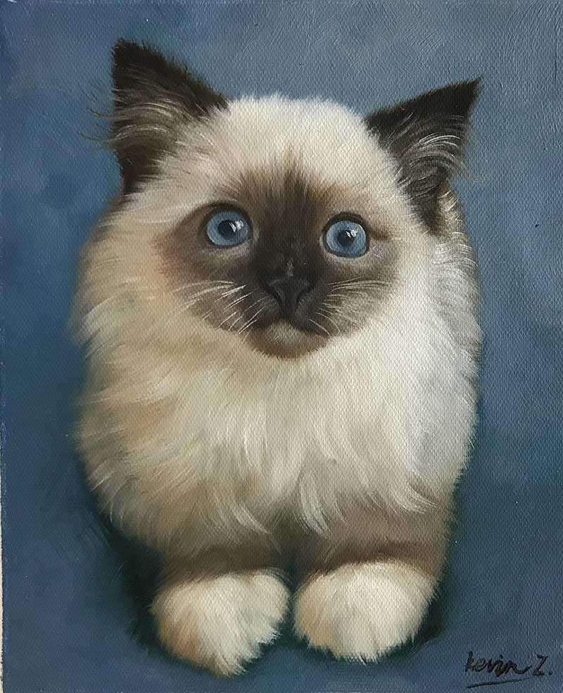 Ritratto ad olio gatto siamese da fotografia