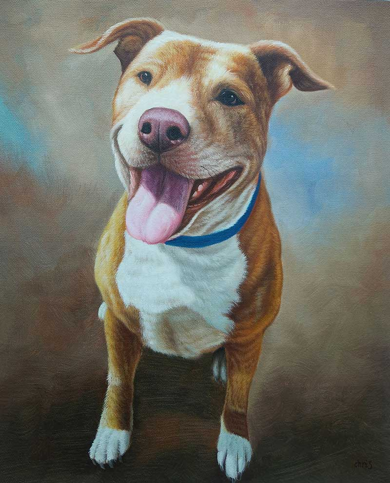 great oil painting of a lovely pitbull