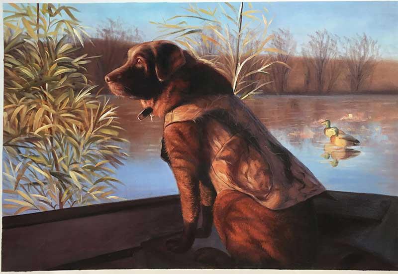 oil painting portrait landscape dog dawn lake