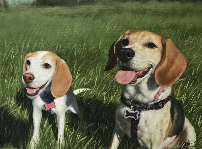 oil painting cute beagles in a grass field