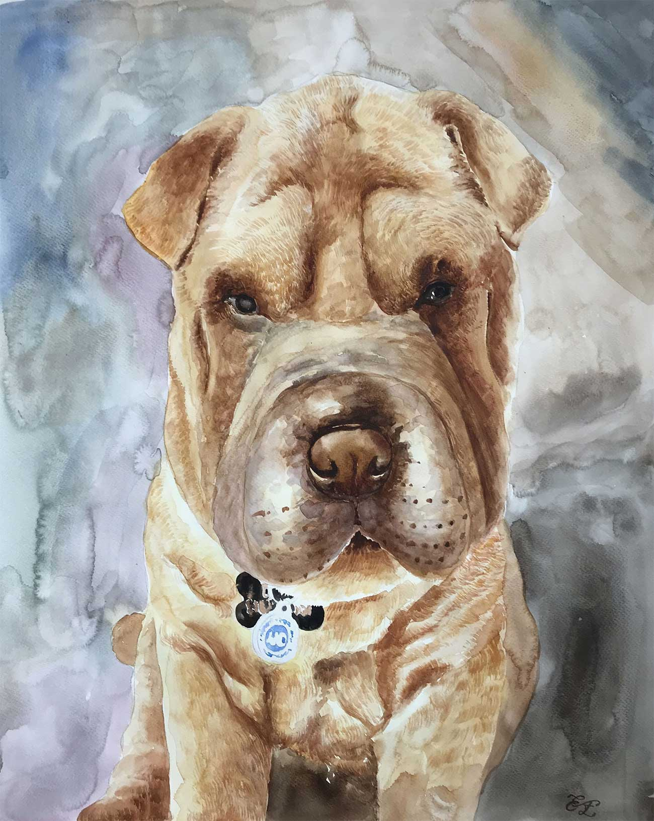 an amazing painting of a shar-pai dog.
