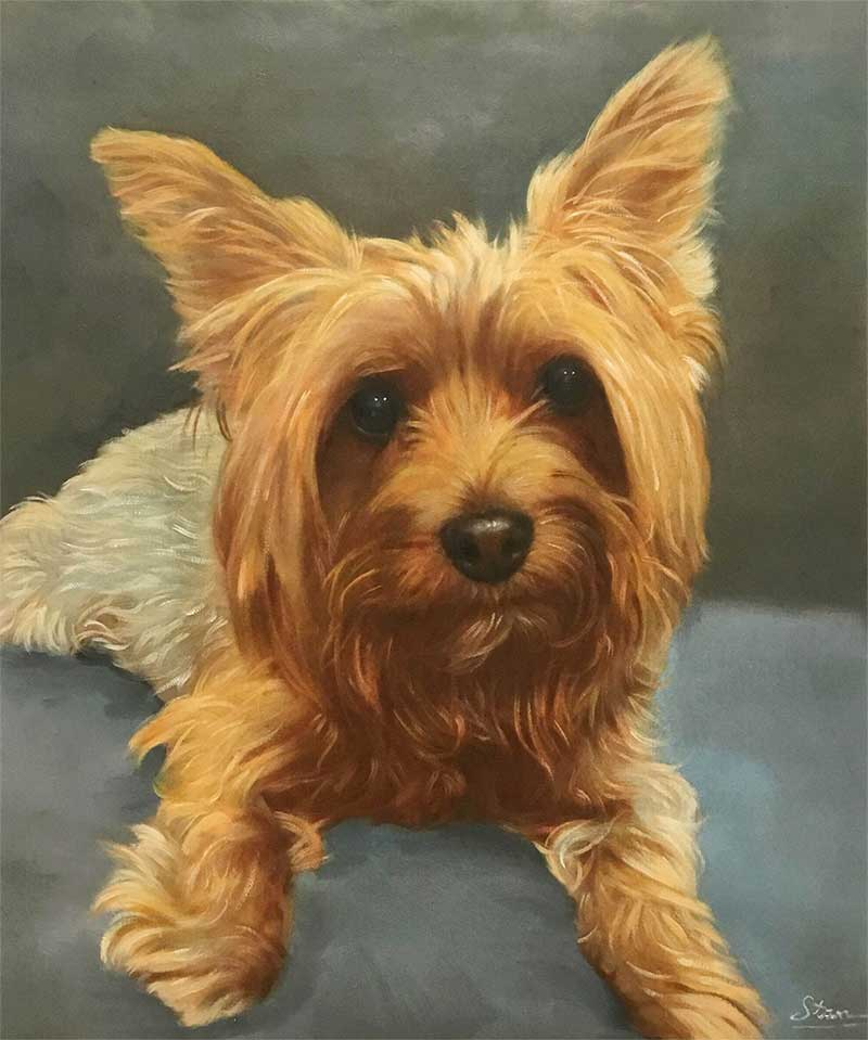 an oil painting of a brown tiny dog with pointy ears
