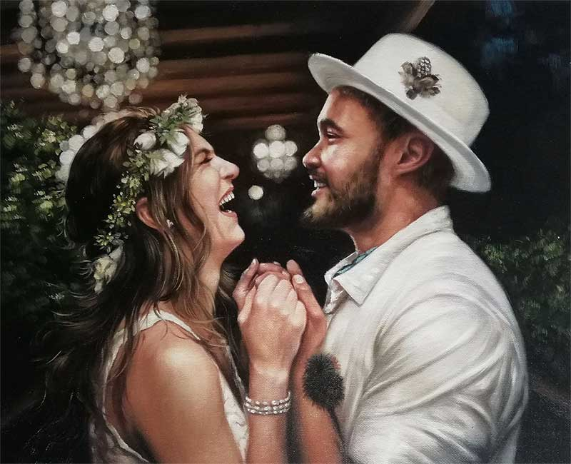 oil painting of a loving couple at their wedding