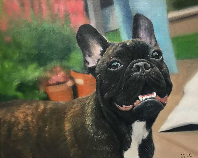 oil painting of one happy french bulldog