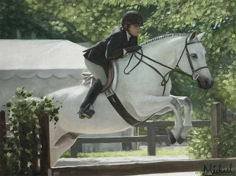 a female riding a white horse