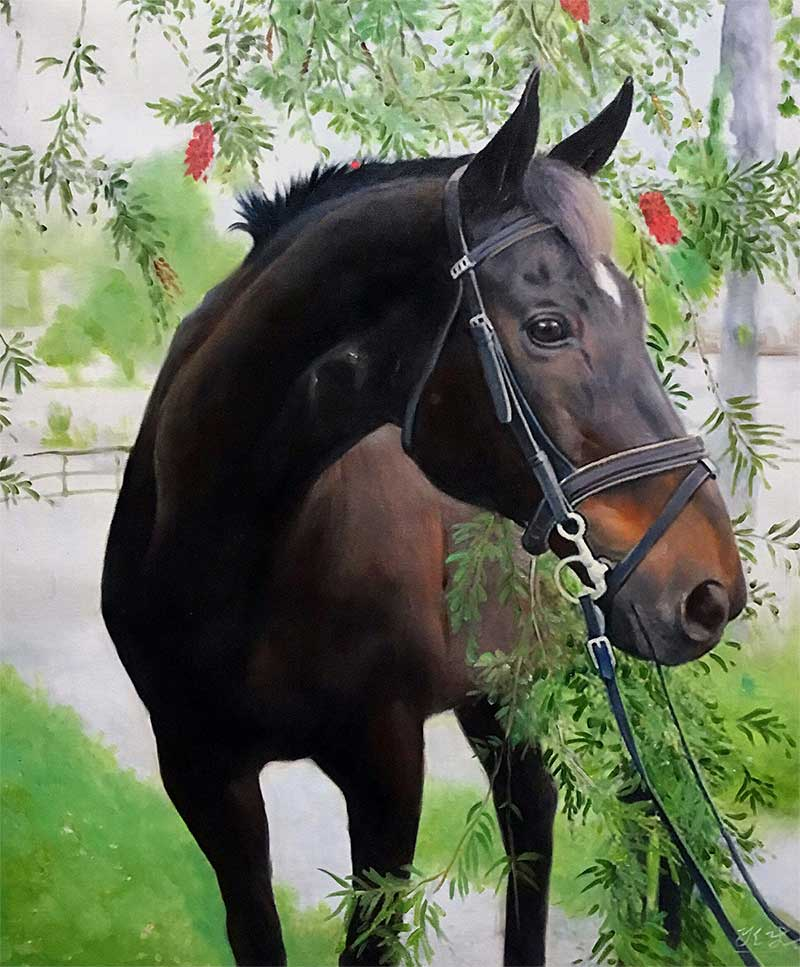 an oil painting of a horse in a garden