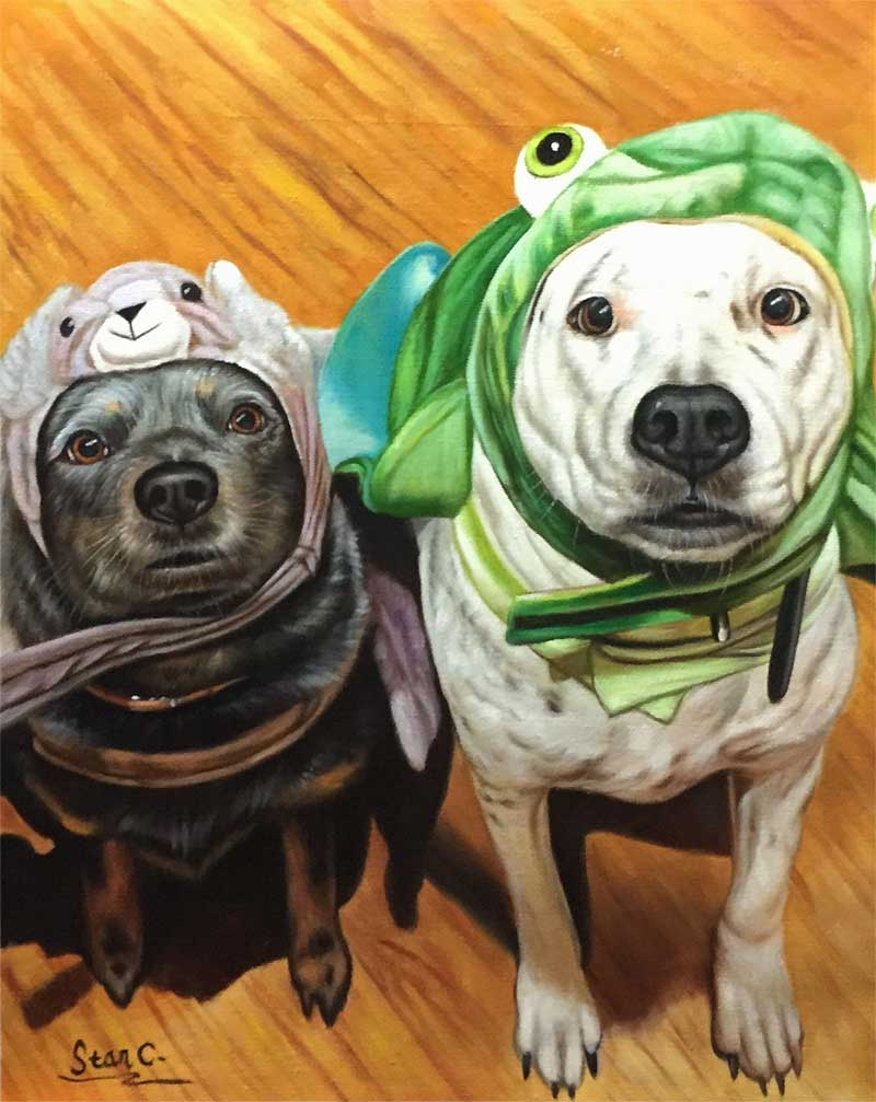 a beautiful oil painting of goofy dogs wearing toy hats