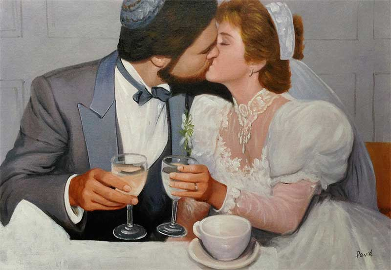 an oil painting of a vintage marriage