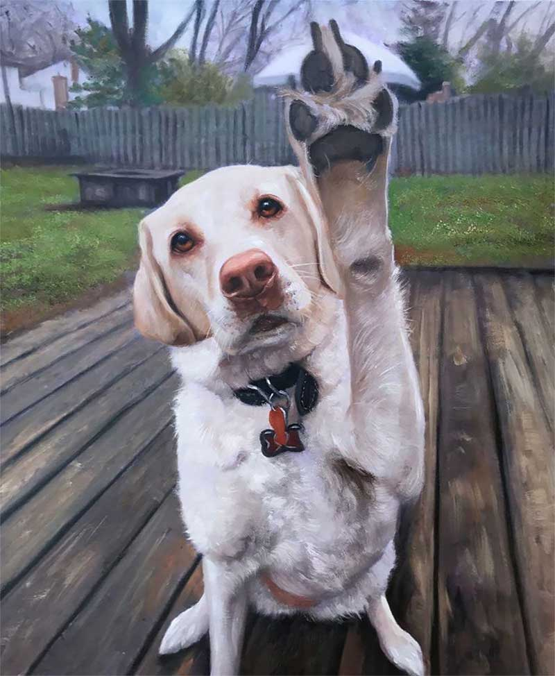 an oil painting of a white Labrador saying hello waving its paw