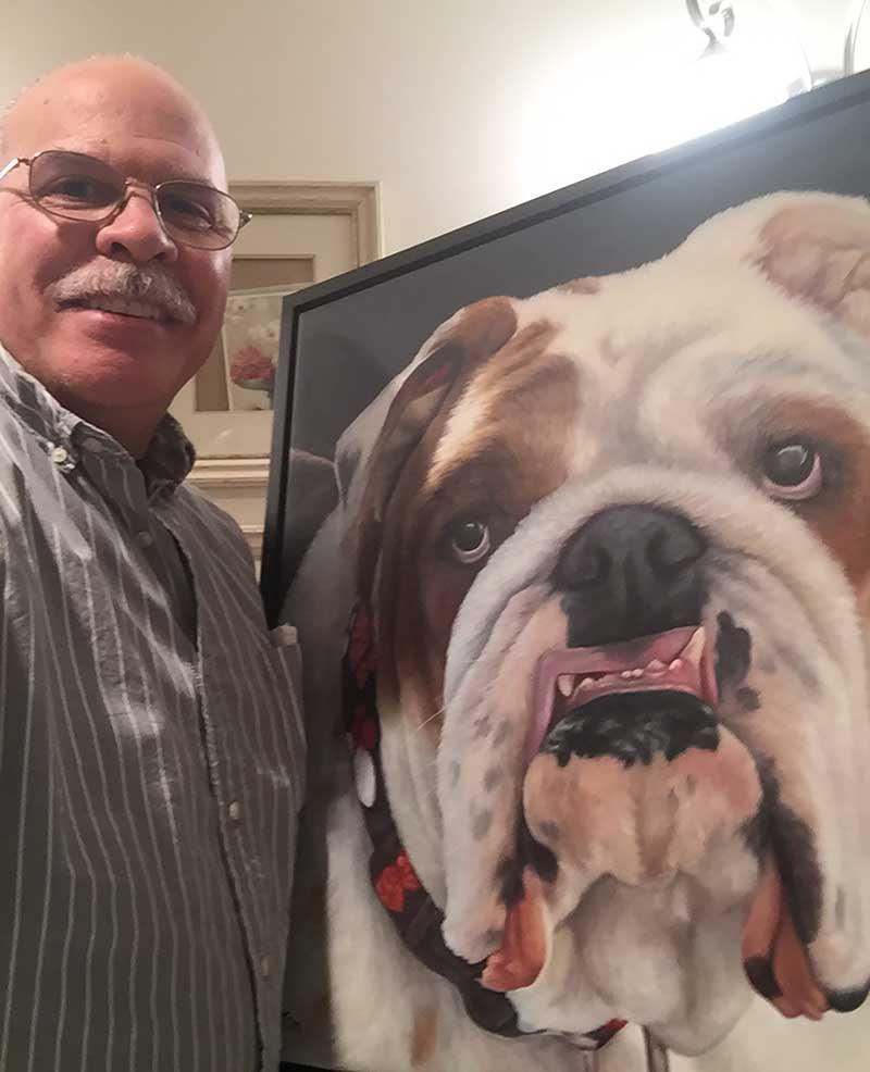 a painting of a english bulldog