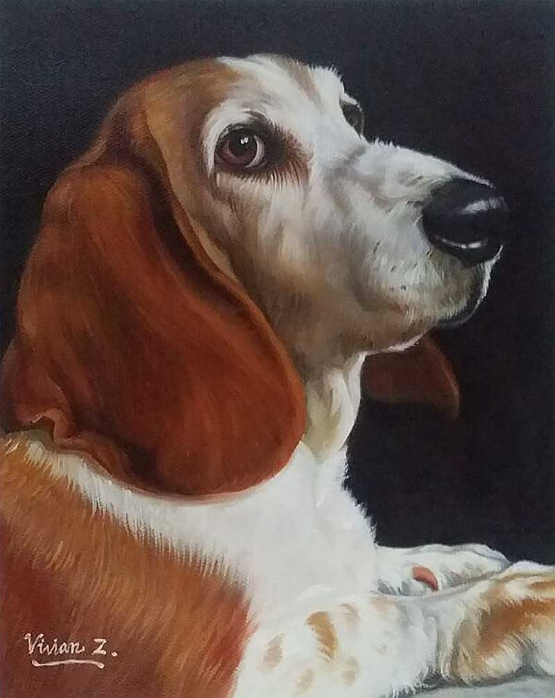 an oil painting of an old beagle