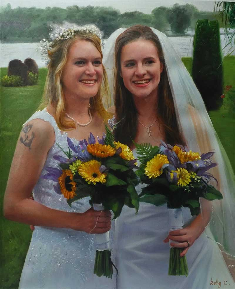 an acrylic painting a wedding