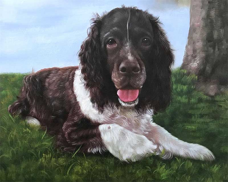 an oil painting of a black end white dog laying in the grass