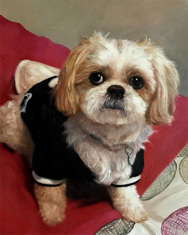 an oil painting  of a tiny white dog in a clothing