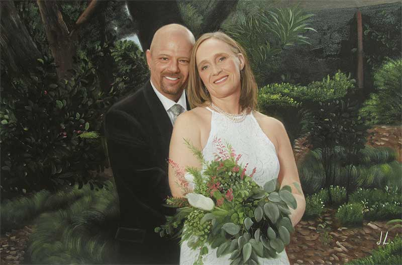 an oil painting of a couple by the garden green