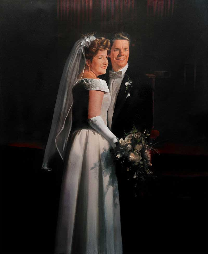 an oil painting of a couple wedding