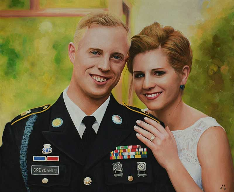 An oil painting of a wedding marine soldier bride greenery