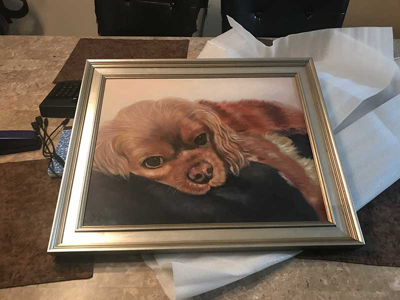 an oil painting of a brown little dog memorial