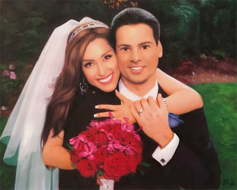 an oil painting of couple wedding red roses portrait