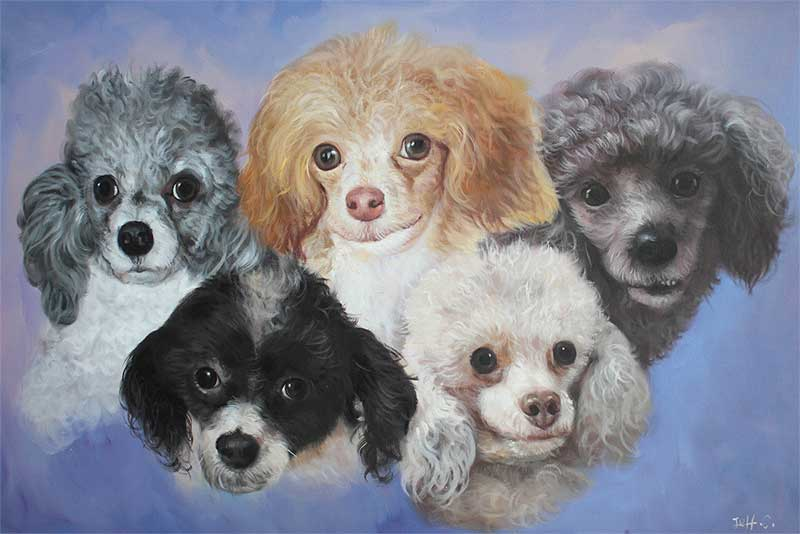 an oil painting of poodles brown white black grey gray