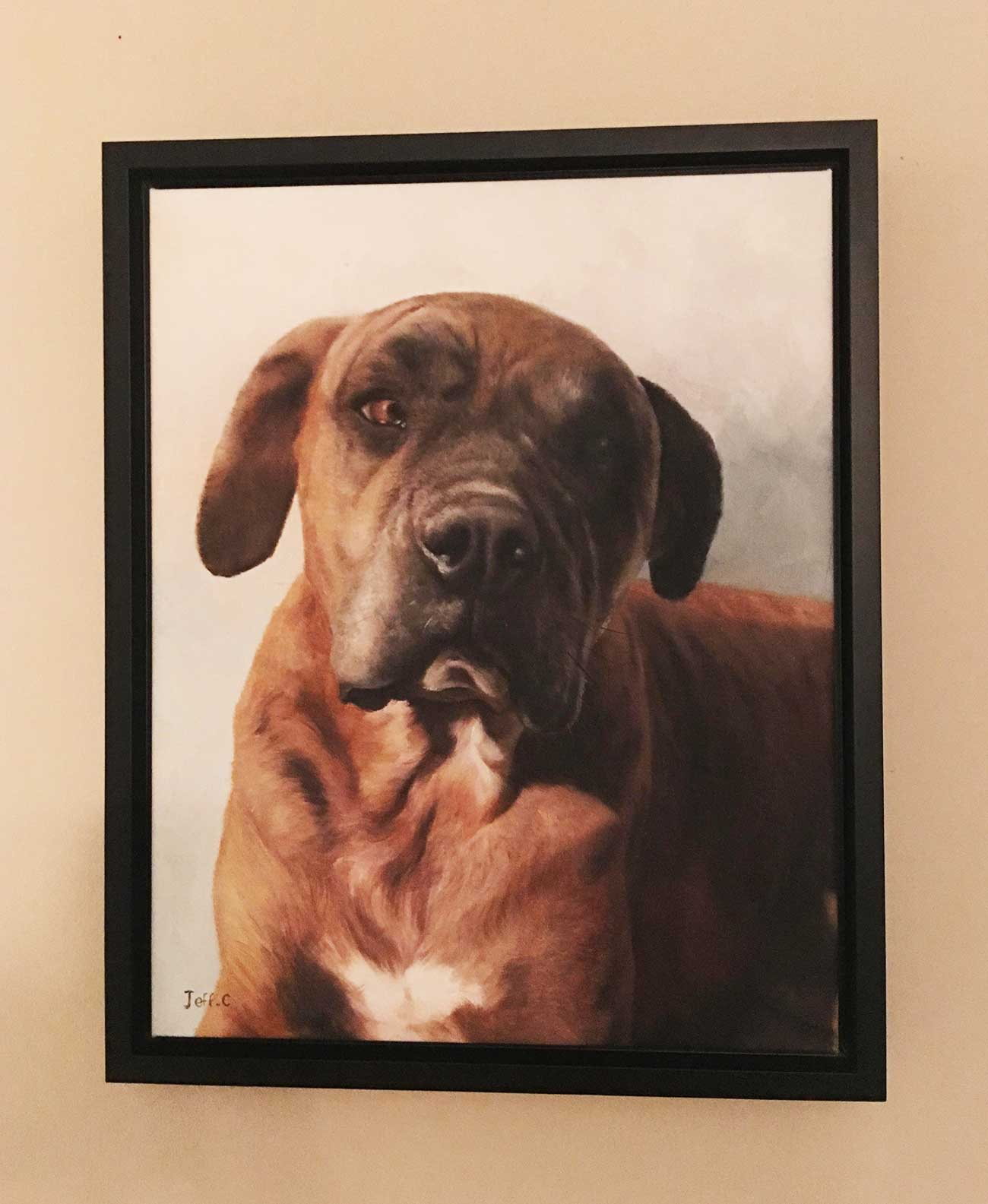 an oil painting of a brown dog memorial