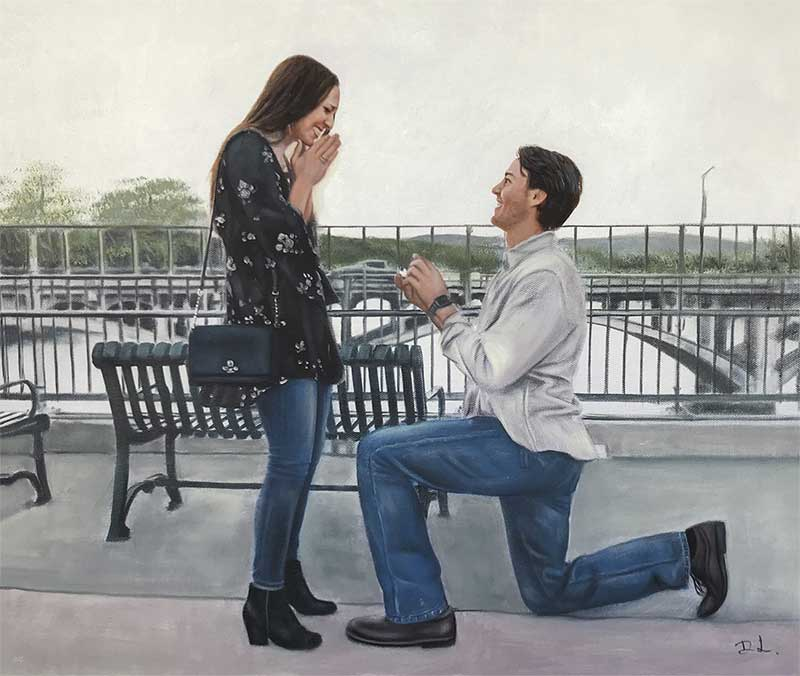 an oil painting of a couple surprise engagement by the bridge over a river