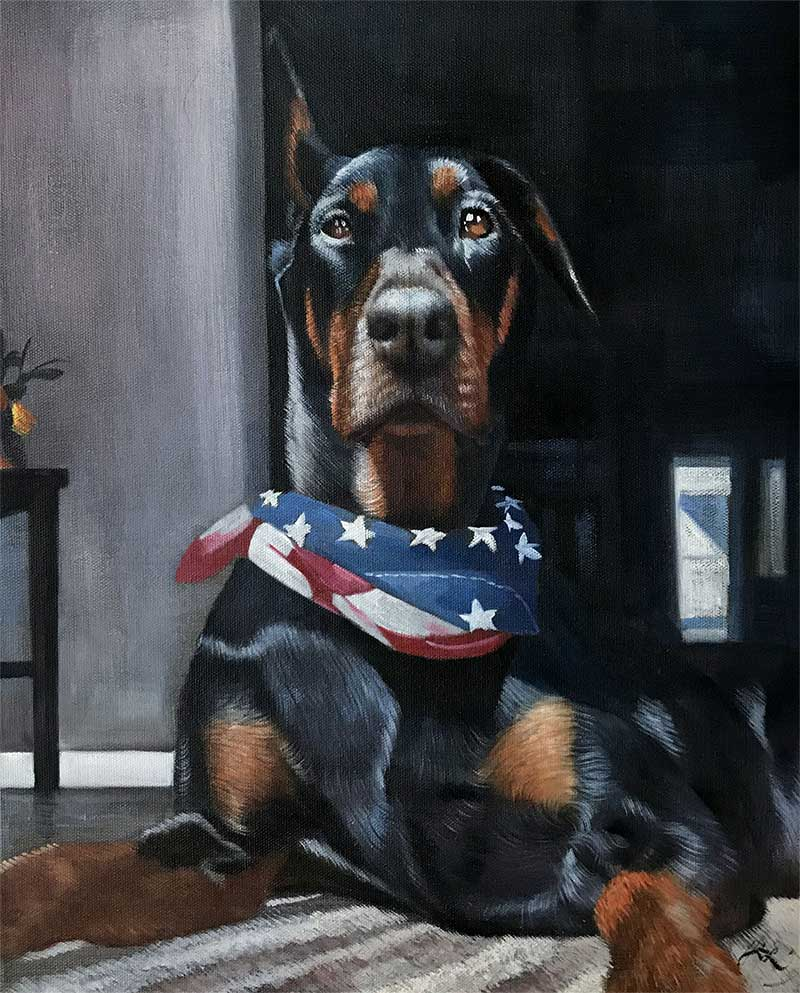an oil painting of a doberman wearing a bandana of unites states flag
