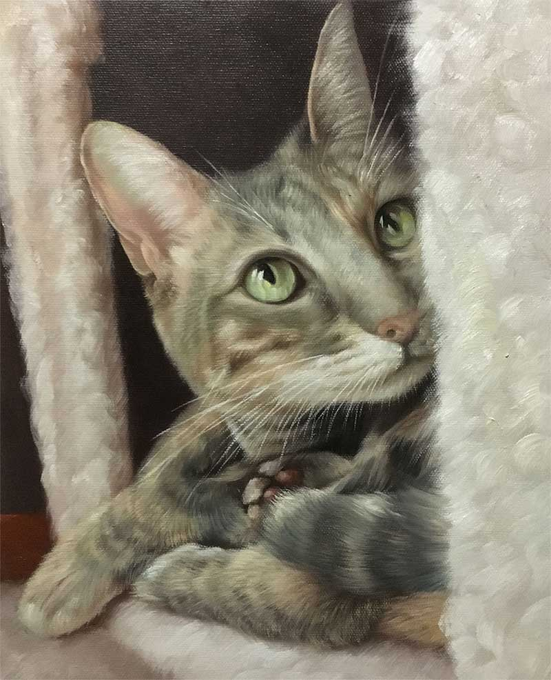 an oil painting of a striped gray grey cat in its house