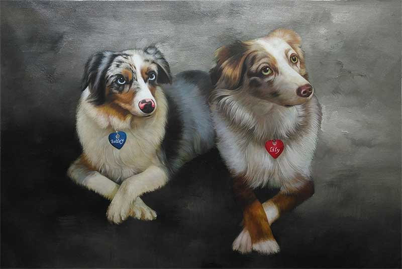 an oil painting of two dogs with black background