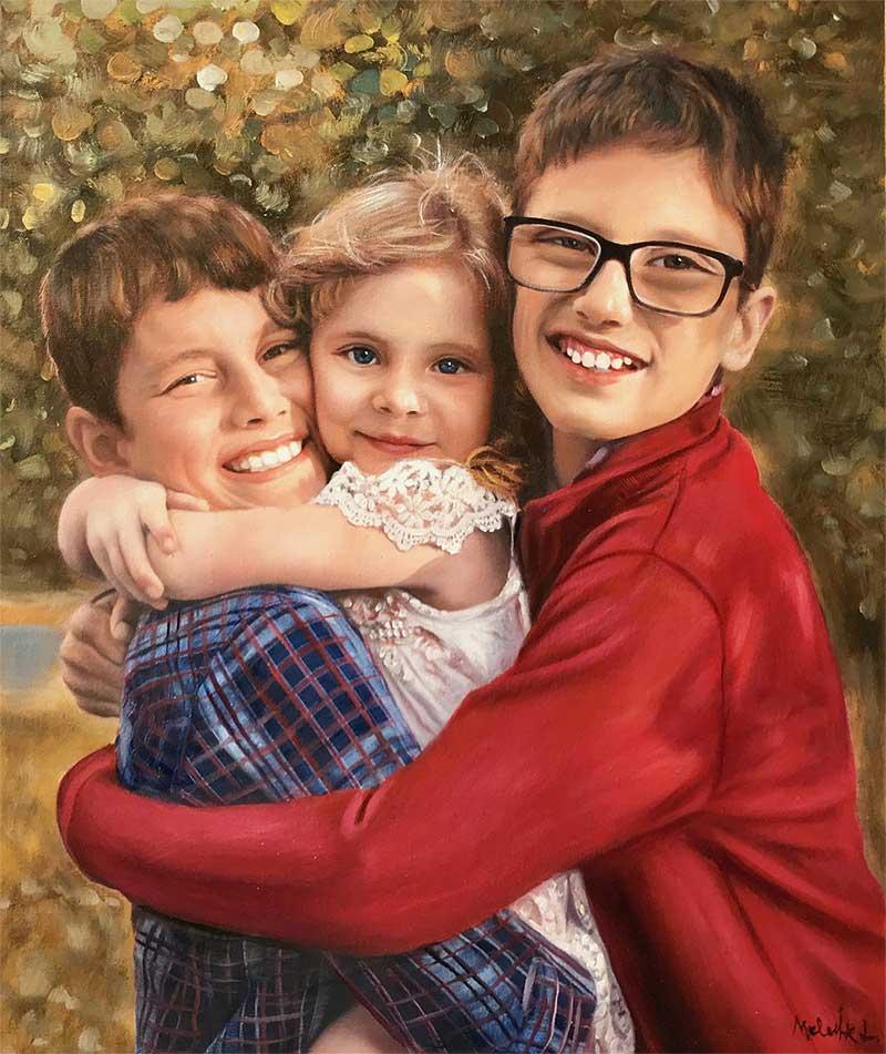 custom painting of three loving kids under the sunlight