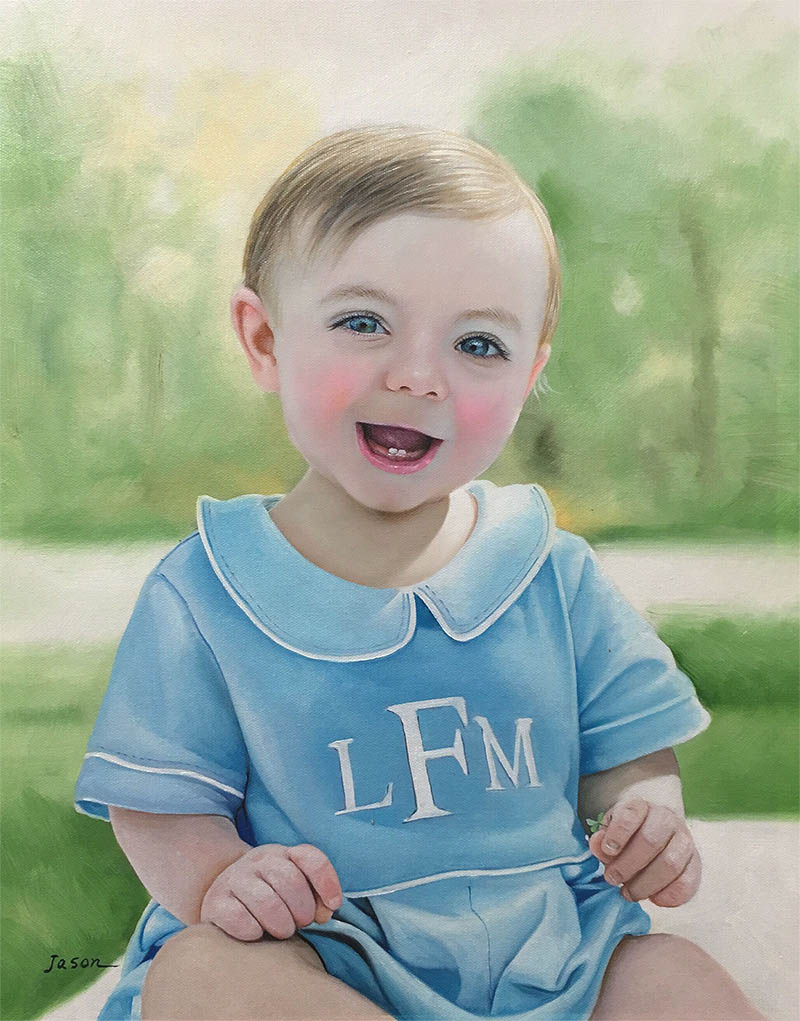 an oil painting of a young child smiling  a blue clothes