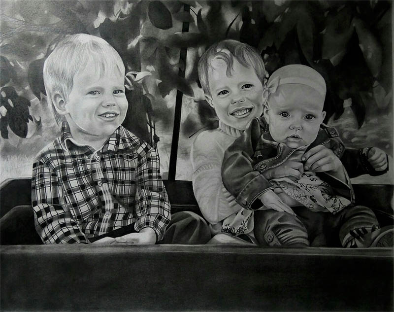 black pencil drawing of children in the garden