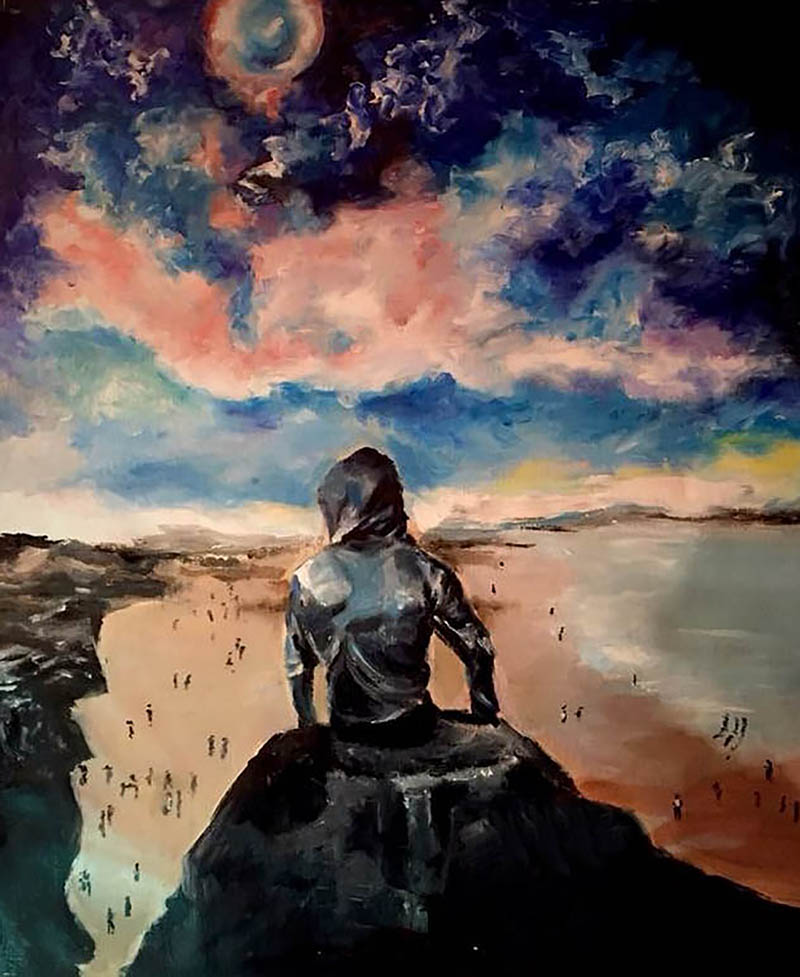 custom artistic style oil painting of man on cliff